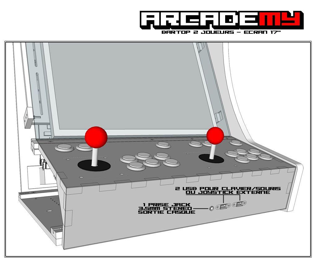 a l 39 avant du kit bois plexi pour une borne d 39 arcade type bartop 2 joueurs des emplacements sont. Black Bedroom Furniture Sets. Home Design Ideas