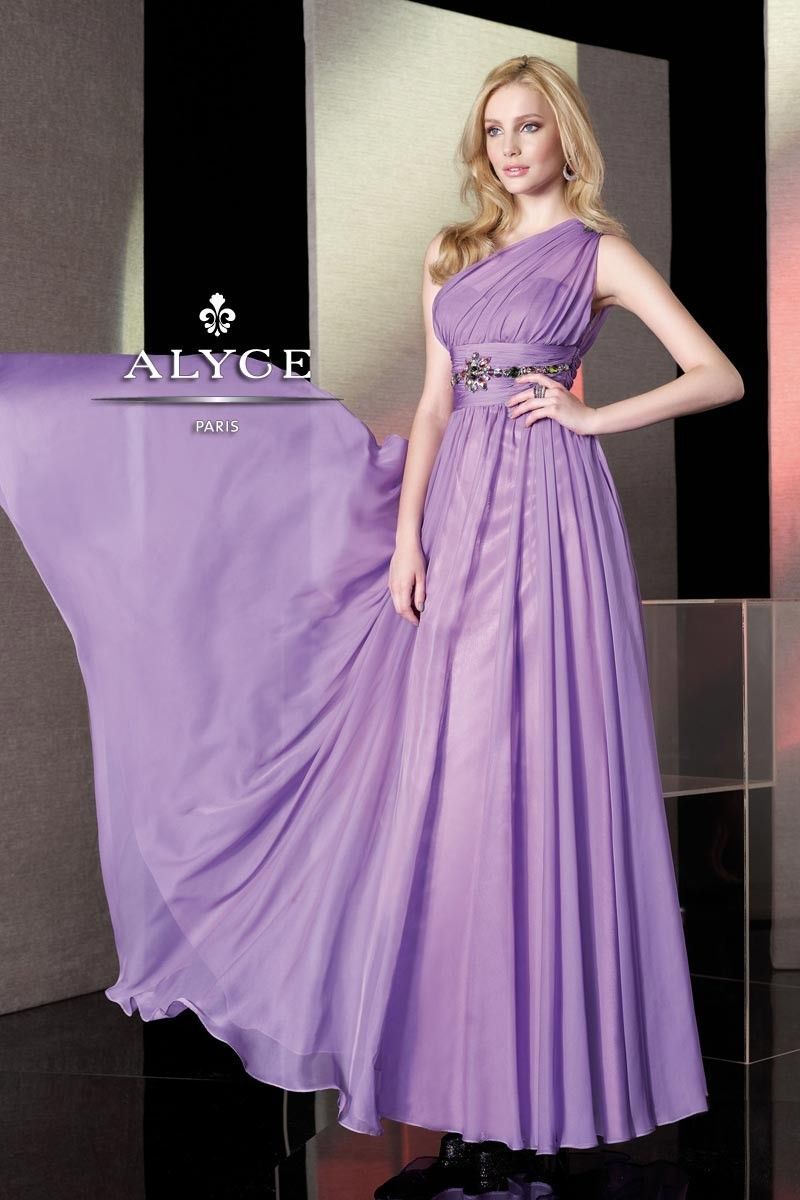 This one shoulder Alyce stunner looks great in the color ocean. Come ...