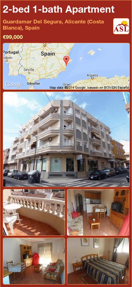 2-bed 1-bath Apartment in Guardamar Del Segura, Alicante (Costa Blanca), Spain ►€99,000 #PropertyForSaleInSpain