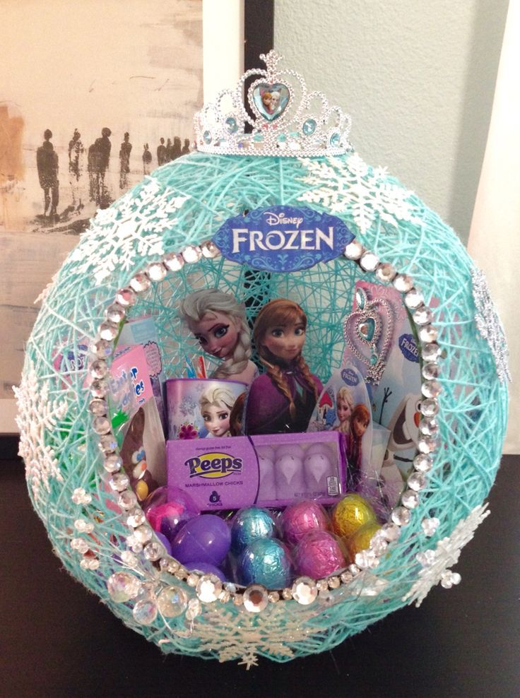 Frozen string easter basket i made for my daughters friends easter frozen string easter basket idea for kids negle Images
