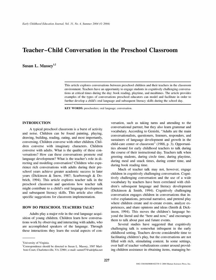 TeacherChild Conversation in the Preschool Classroom