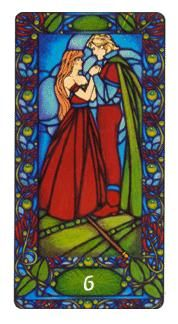 View the Six of Wands in the Art Nouveau deck on Tarot.com