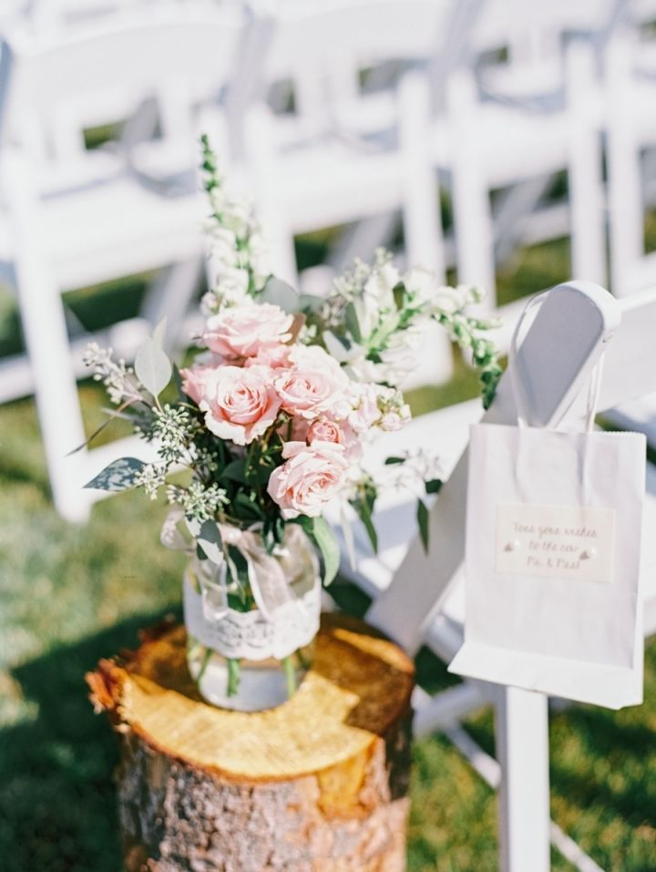 Blush toned for rustic country meets elegance farm wedding | Wedding aisle decoration with mason jar wrapped in lace + blush flowers