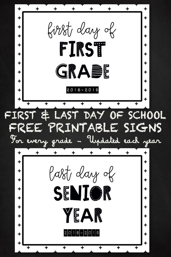 First Day Of School Free Printable Signs for every grade #firstdayofschoolsign