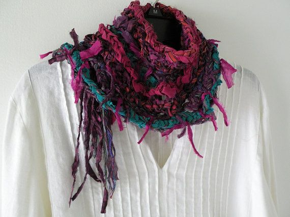 Crochet scarf women's silk multicolor knit by LifesAnExpedition, $44.40