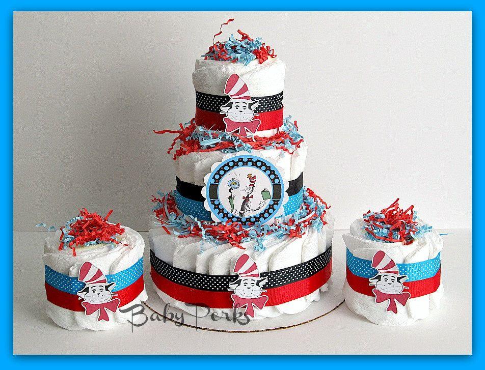 Dr Seuss Diaper Cake Bundle , Cat In The Hat Diaper Cake , Dr Seuss Baby  Shower, Baby Shower Decorations