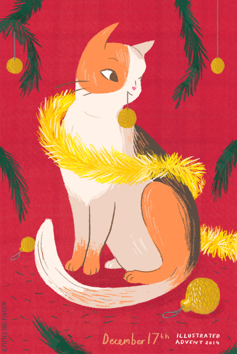 A festive kitty cat for December 17th #IllustratedAdvent #Illo_Advent
