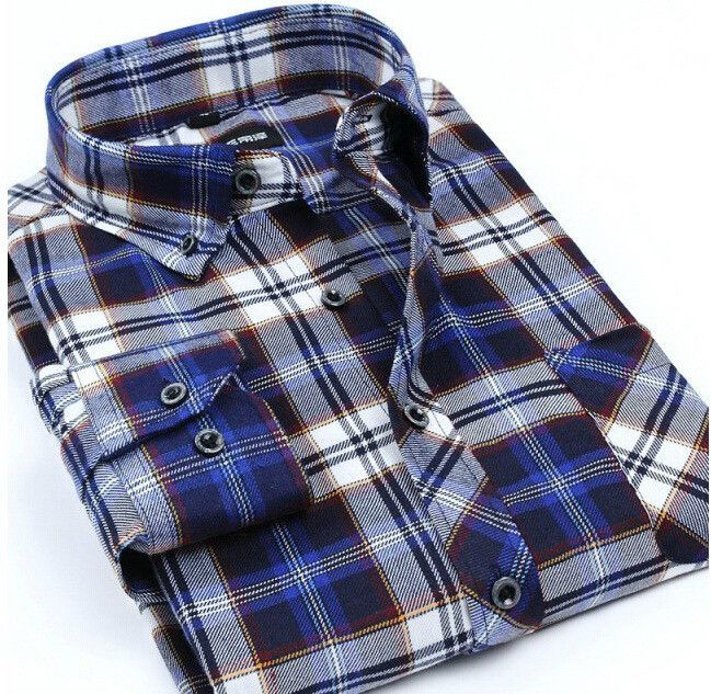 Plaid Luxury Slim Long Sleeve Formal Business Fashion Shirts