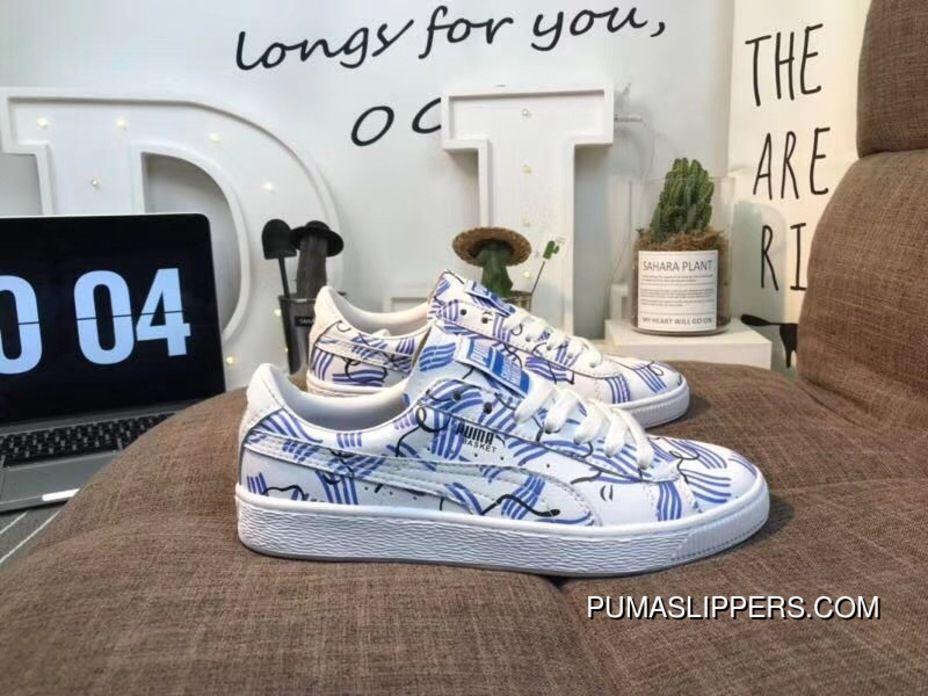 Puma Sneakers Blue And White Porcelain Graffiti FULL GRAIN