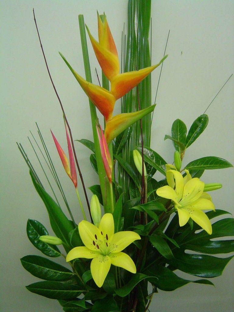 Tropical Sun   Flower arrangements simple, Tropical floral ...