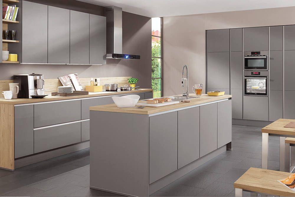 Nobilia Küche grau mit Echtholz Stauraumwunder Lassen