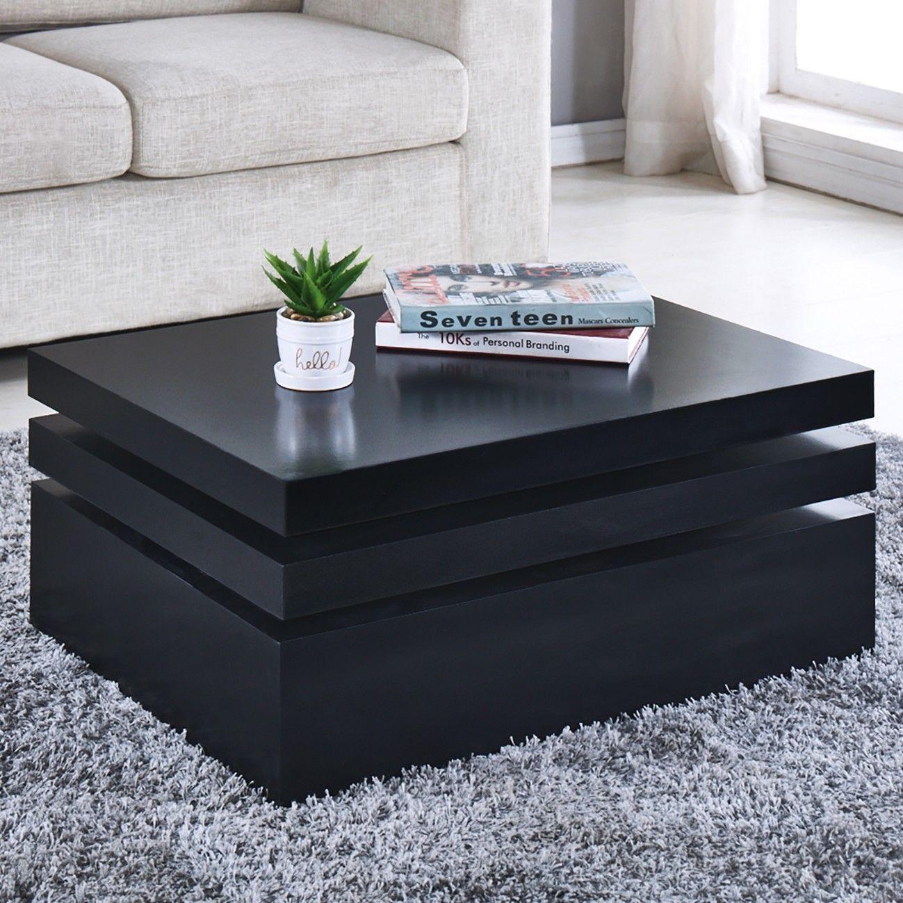 Black Square Coffee Table Rotating Contemporary Modern Livi Contemporary Modern Living Room Furniture Modern Contemporary Living Room Black Square Coffee Table