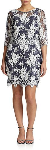 Kay Unger Plus Size Beaded Lace Shift Dress   Schicke ...