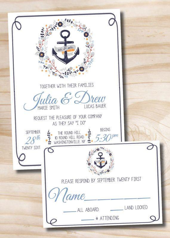Nautical Wreath Beach Wedding Invitation And Response Card Suite