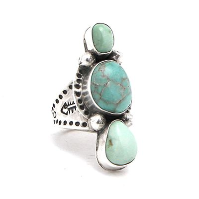 Silver Creations Three Stone Damale Turquoise Ring at Maverick Western Wear