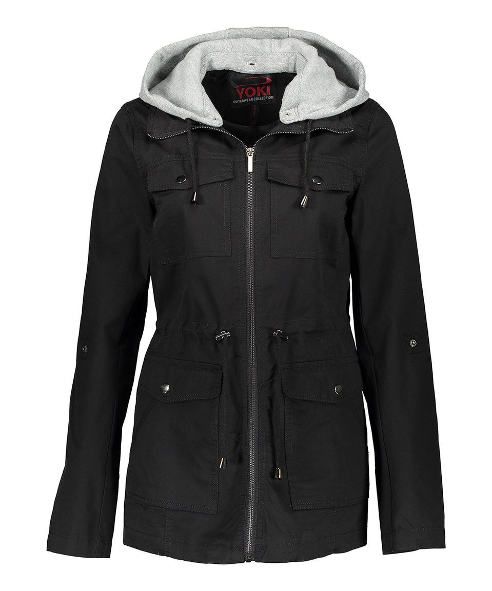Look what I found on #zulily! Black Twill Contrast-Hood Anorak - Plus Too by Yoki #zulilyfinds