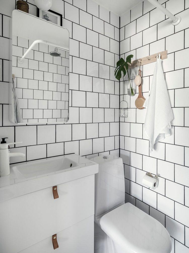 Badezimmer Weiße Fliesen Schwarze Fugen