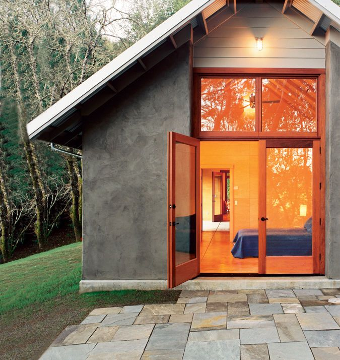 In the winter, radiant heating keeps the house cozy while