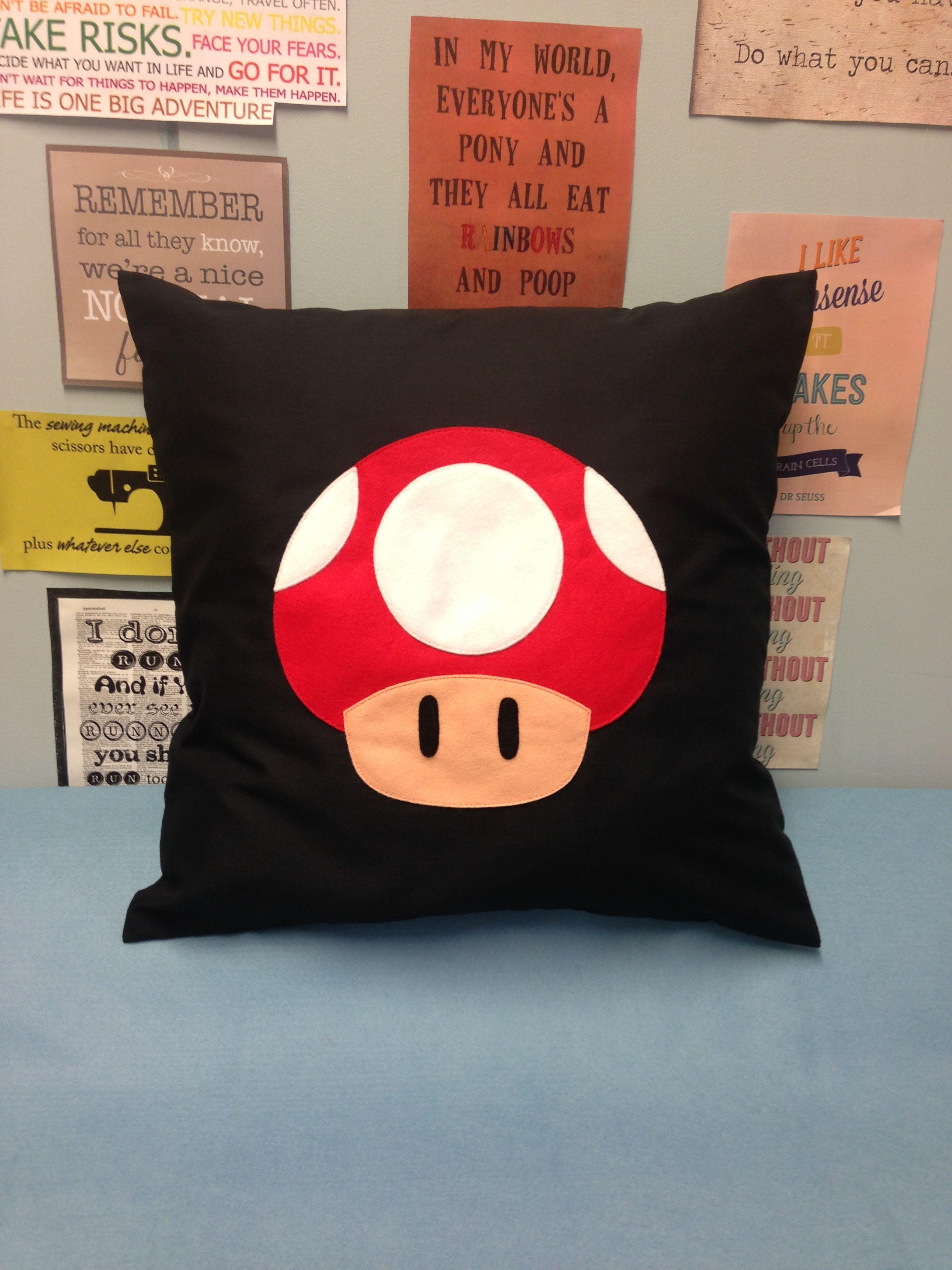 Toad Black Super Mario Bros Retro Cushion Pillow Cover