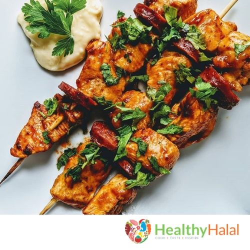 Chorizo Chicken Kebabs Healthy Halal Online Halal Meat Online Uk Next Day Delivery In 2020 Garlic Lime Marinade Stuffed Peppers Chicken Kebabs