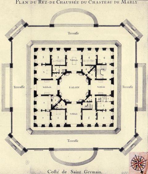 Plan du château de Marly (détail), at the end of Louis XIVu0027s reign