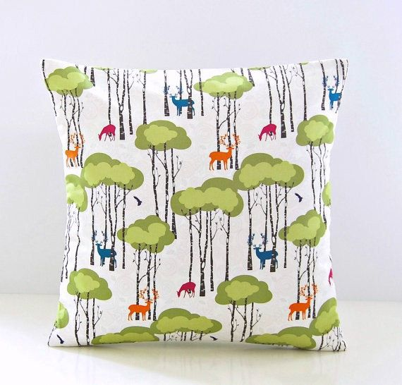 trees decorative pillow cover green orange by LittleJoobieBoo