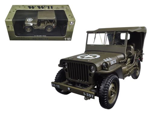 Ul Li Brand New 1 18 Scale Diecast Model Of 1 4 Ton US Army Jeep Vehicle WW  2 Hard Top Die Cast Model Car By Welly. Li Li Has Steerable Wheels.