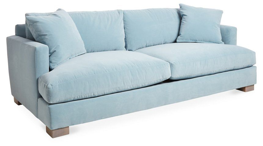 Hudson Sofa Light Blue Velvet Sofas