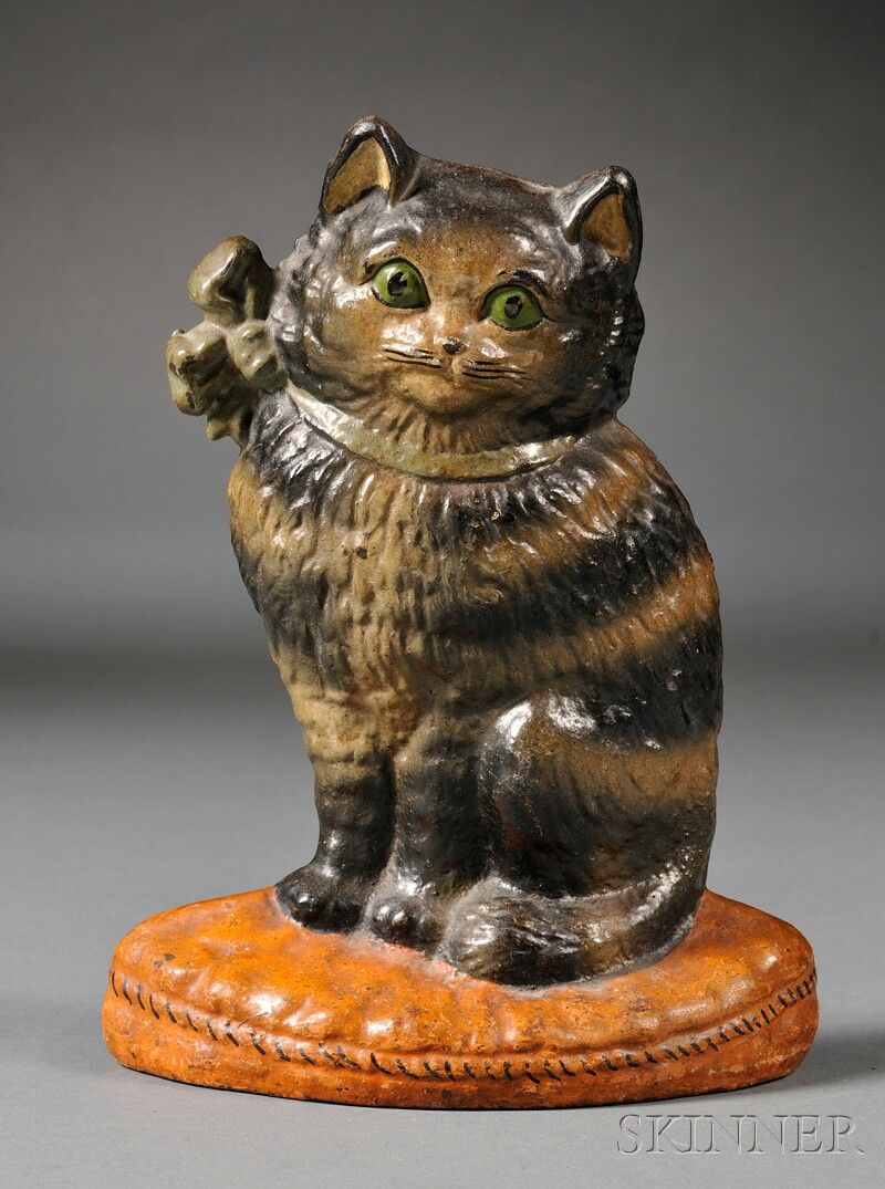 Polychrome Painted Cast Iron Cat Doorstop Early 20th