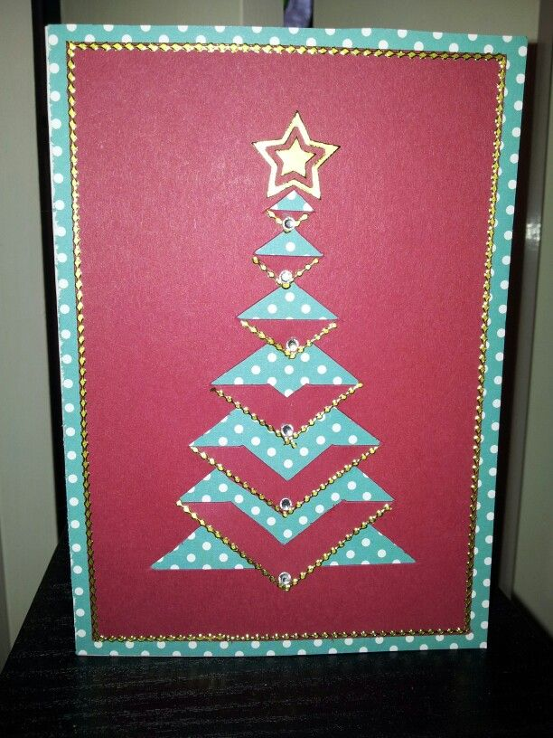 Lace Folded Christmas Tree Card My Own Template Embellished With Border Stickers And Rhinest Christmas Tree Template Christmas Tree Cards Boho Christmas Card