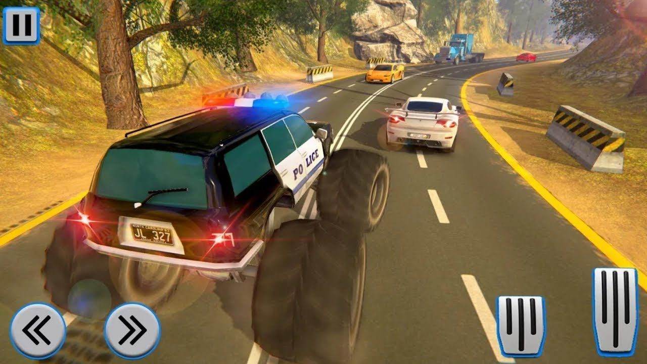 Police Truck Gangster Car ChaseIMonster truck crash gameI