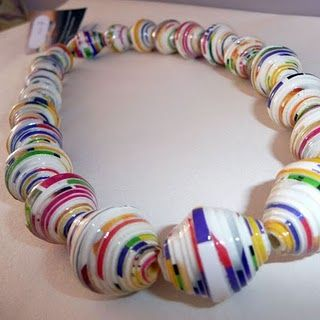 how to make fat round paper beads