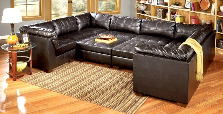 Plush U Shaped Black Leather Sectional Couch With Double Ottoman As Sleeper At Day Sofa Bed Design Sectional Couch Leather Couch Sectional