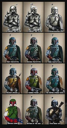 #starwars #bobafett #evolution #ralphmcquarrie #mcquarrie #holidayspecial #kenner #prototype #armor #mandalorian