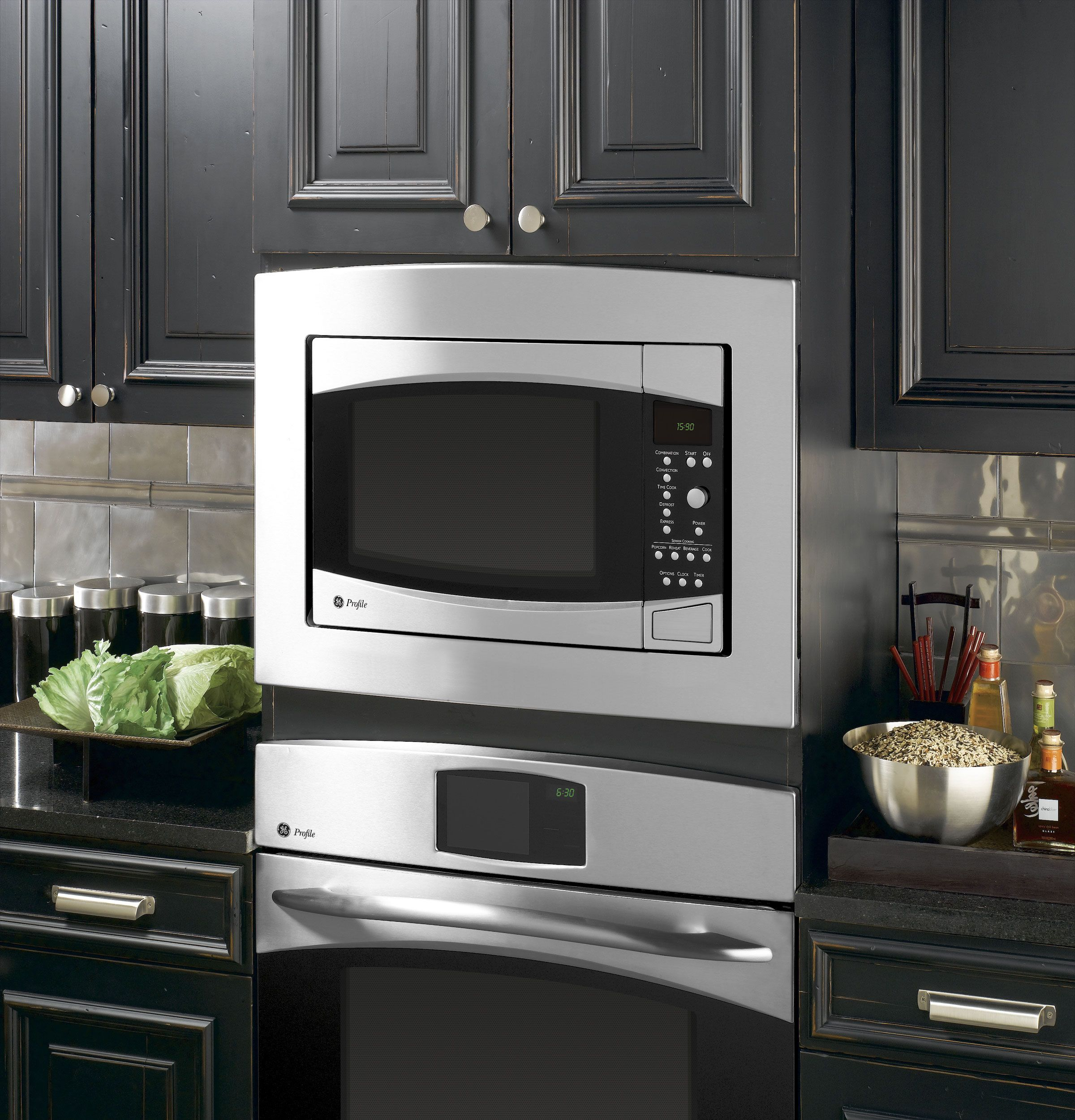 Ge Profile Microwave With Trim Kit Above Ge Oven Microwave Wall