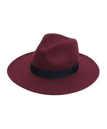 Loving this Burgundy & Black Faux Felt Panama Hat on #zulily! #zulilyfinds