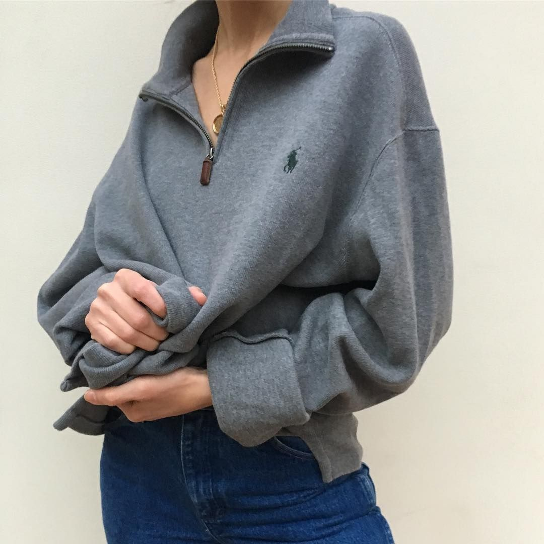 Vintage Thick Cotton Ralph Lauren Polo Zip Up Pullover S Xl 62 Shipping Sold Pullovers Outfit Vintage Outfits Hot Sweatshirts