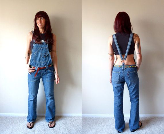 Levi's Red Tab Denim Overalls Flare Jeans Open Back Suspenders ...