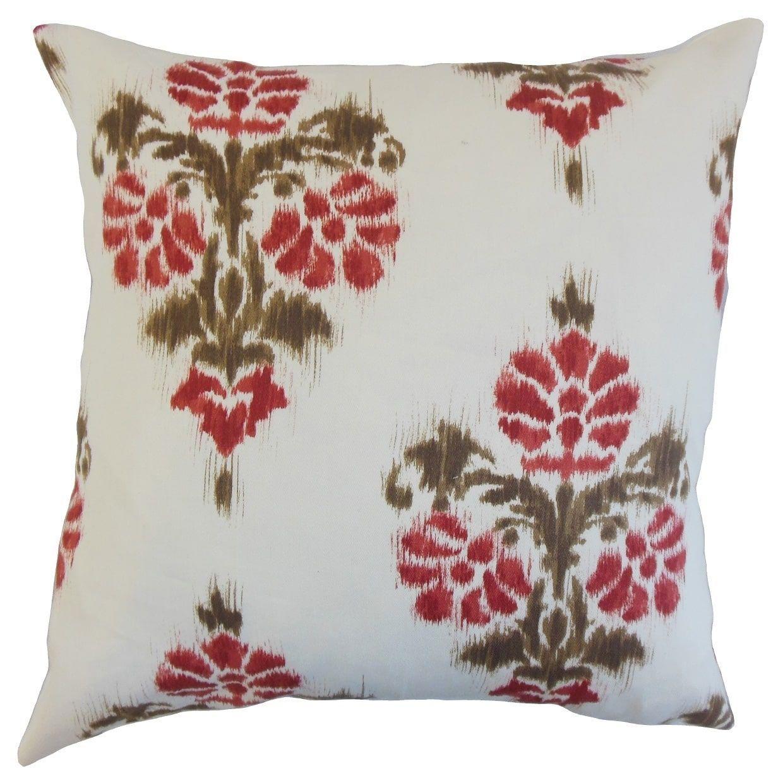 Edwige Ikat Floor Pillow Red Size x Cotton Floor pillows
