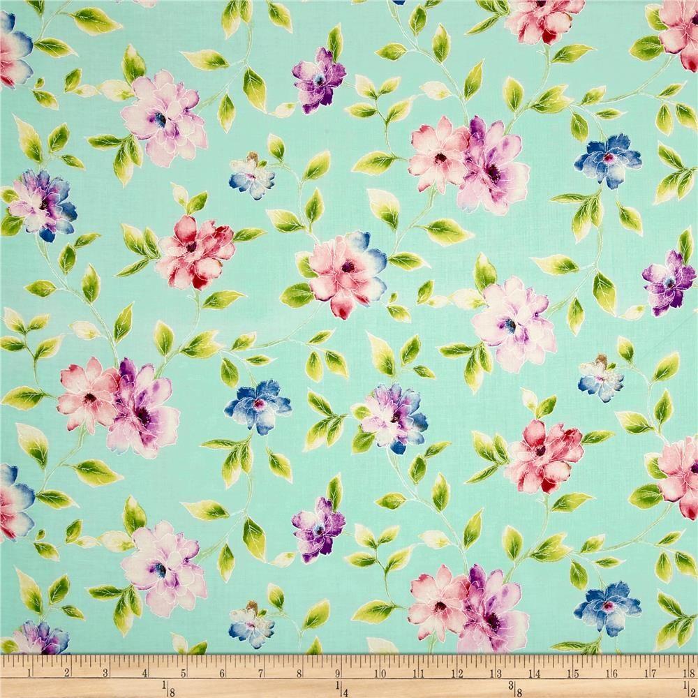 Ariel Floral Vine Light Aqua Floral Prints Multi Colored Flowers Floral