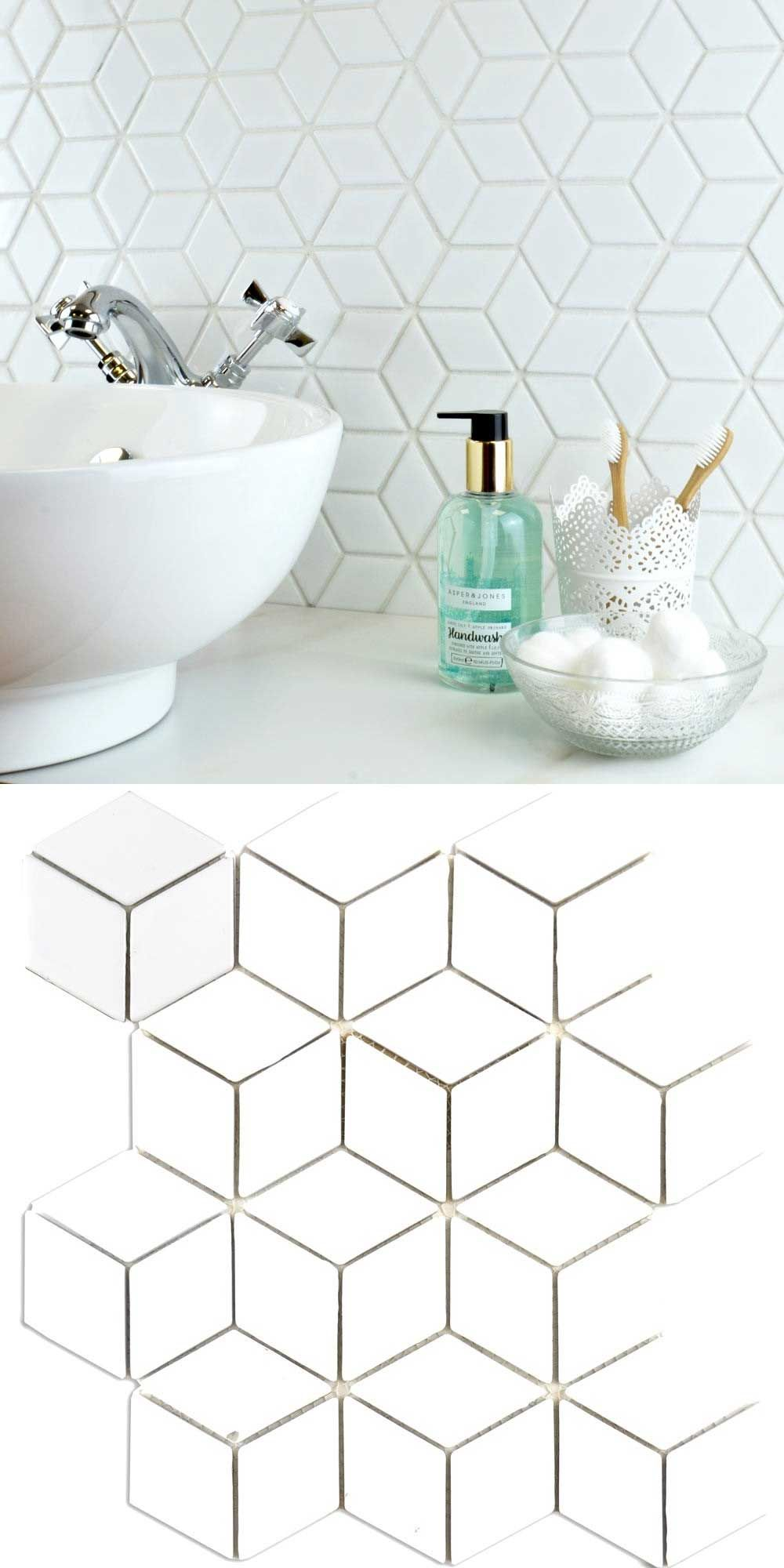Bijou Gloss Hexacube 3d White Mosaic Tiles White Mosaic Tiles Mosaic Bathroom Tile Tile Bathroom