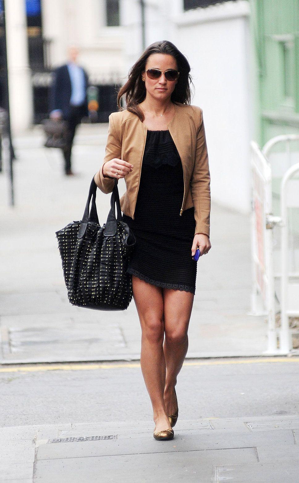 Pippa Middleton tan leather jacket black dress big black tote bag ...