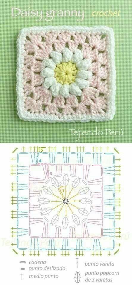 Daisy granny | Crochet | Pinterest | Cuadrados, Ganchillo y Tejido