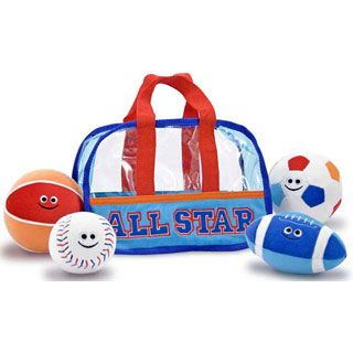 24 99 Take Me Out To A Ball Game This Toddler Sized Sports Bag Comes Packed With A Plush Soccer Ball B Baby Toddler Toys Toddler Toys Melissa And Doug