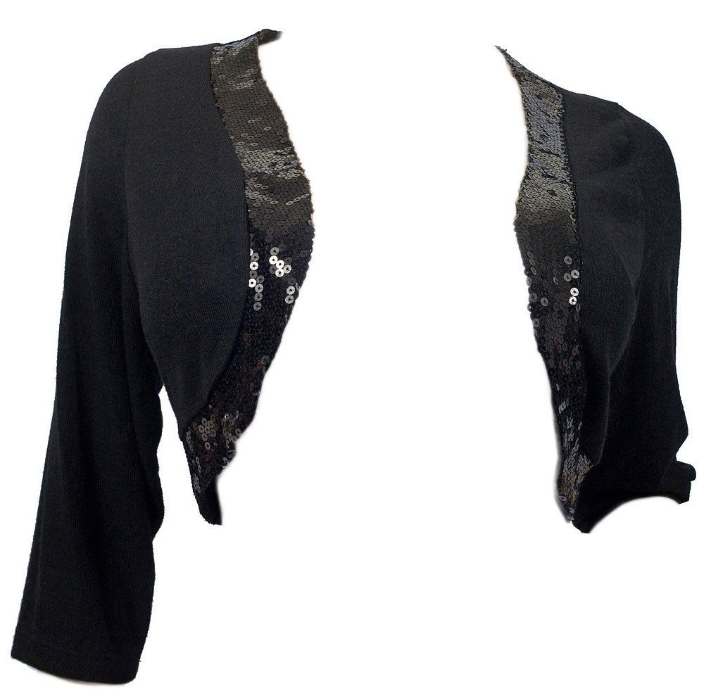 eVogues Plus Size Sequin Trim 3/4 Sleeve Cropped Bolero Shrug ...