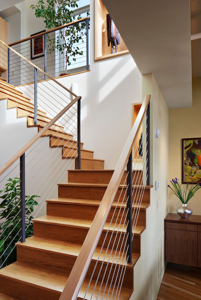Contemporary Stair Railing For Contemporary Staircase With Urban | Modern Wood Staircase Railing | Residential | Interior | Floor To Ceiling | Ultra Modern | Traditional Wood Stair
