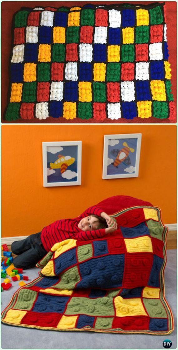 Ganchillo del bloque hueco de Lego del bloque Manta Patrón libre ...