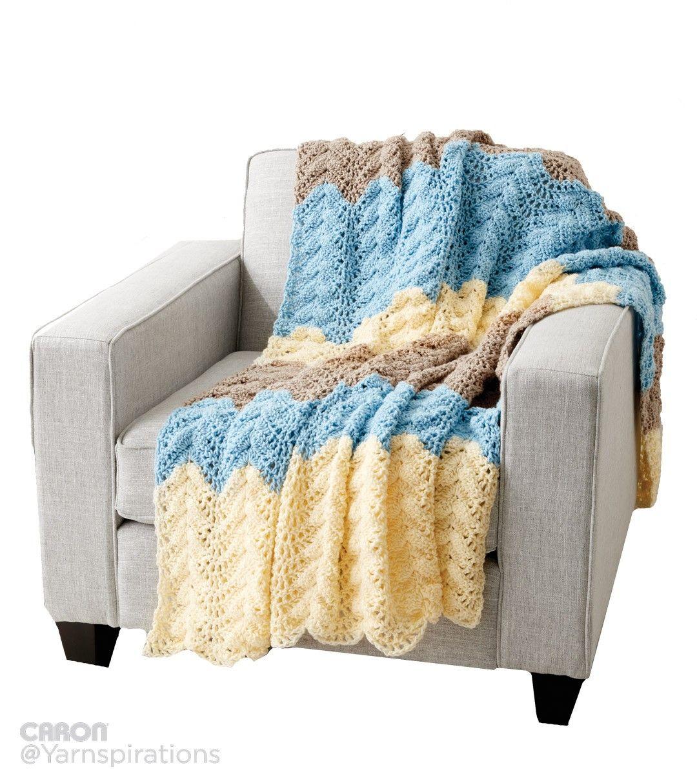 Bonito Patrón De Crochet Ondulación De La Vendimia Friso - Manta de ...