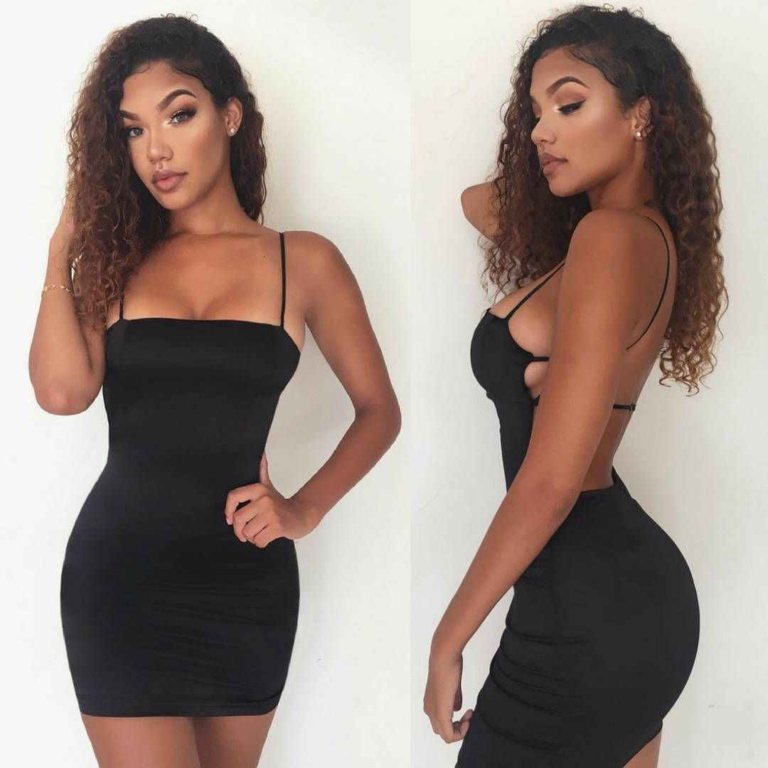 """83998b103e9a The slay ✓ ✓ Boo @xttiona kills it in 'Cutting Shapes' Satin Mini Dress in  Black. Make sure you're weekend plans involve…"""""""