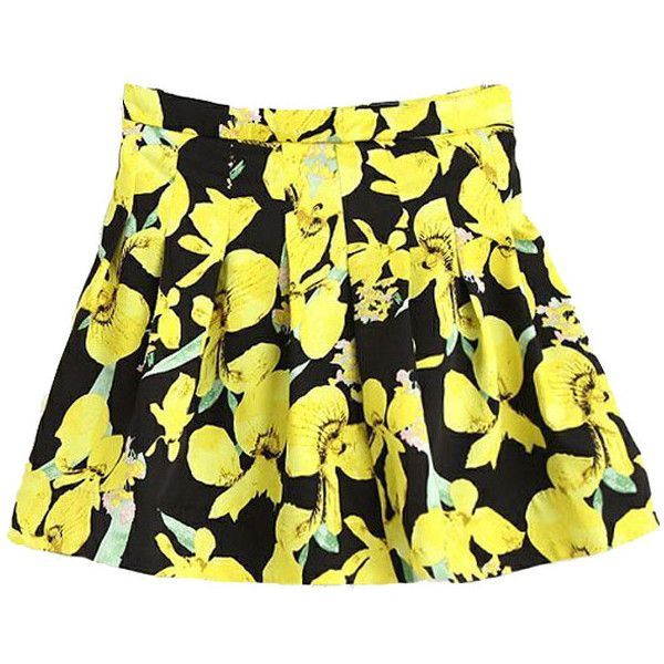 Black Yellow Floral Print Pleated Skater Skirt ($20) ❤ liked on Polyvore featuring skirts, floral circle skirt, knee length pleated skirt, floral skirt, skater skirt and flared skirt